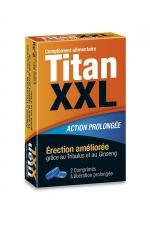 Titan XXL (2 gélules) - stimulant sexuel : Aphrodisiaque masculin pour de meilleures érections. Stimulant sexuel à effet rapide et à action prolongée. Boite de 2 gélules.