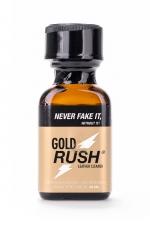 Poppers Gold Rush 24 ml : A base de nitrite d'Amyle, c'est un poppers fort et progressif très apprécié des connaisseurs.