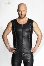 Veste STRONGER Hard : Veste sans manches en wetlook mat fermée par un zip, décorée de rivets et d'anneaux métal style piercing.